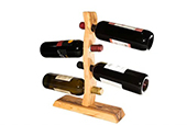 Olive Wood Utensils - Olive wood wine rack with four holes